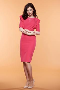 Rochie cu volanase LaDonna roz cu aplicatii cu margele
