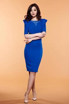 Rochie cu volanase LaDonna albastra cu aplicatii cu margele
