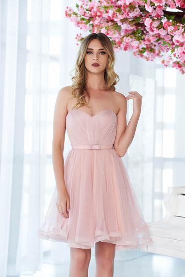 Rochie Ana Radu rosa de lux tip corset din tul cu bust buretat