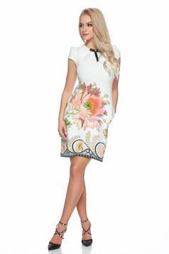 Rochie de zi cu buzunare Fofy alba cu imprimeu floral