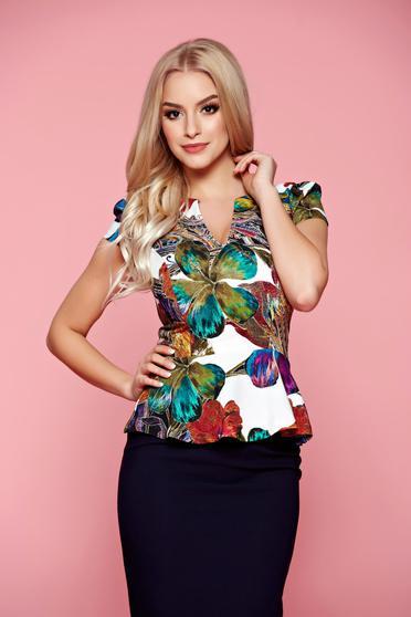 Bluza dama cu decolteu Fofy verde cu imprimeu floral