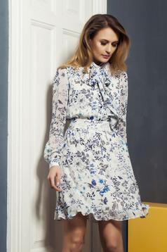 Rochie din voal PrettyGirl albastra cu imprimeuri florale