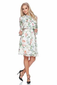 Rochie din voal PrettyGirl verde cu imprimeuri florale
