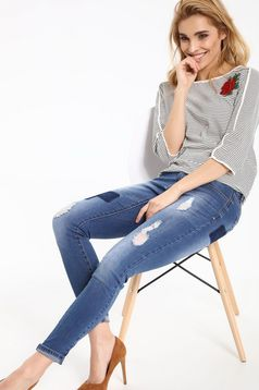 Bluza dama casual Top Secret alba din bumbac cu dungi
