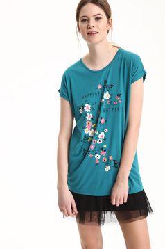 Tricou casual Top Secret turcoaz cu imprimeu floral