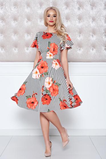 Rochie cu imprimeu floral LaDonna corai cu dungi verticale in clos