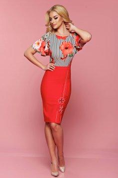 Rochie midi cu imprimeu floral LaDonna rosie cu maneca scurta