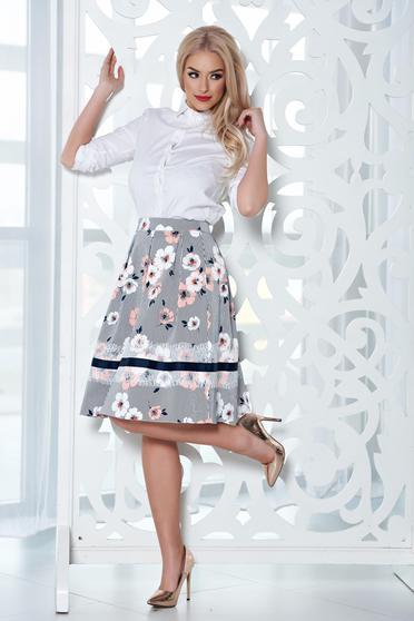 Fusta midi in clos LaDonna piersica cu imprimeu floral