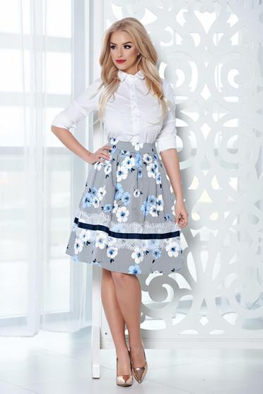 Fusta midi in clos LaDonna albastra-deschis cu imprimeu floral