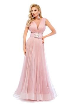 Rochie de seara Ana Radu rosa cu accesoriu tip curea