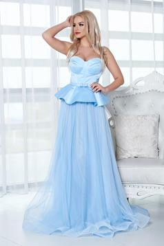 Rochie de seara Ana Radu albastra-deschis tip corset cu volanas in talie