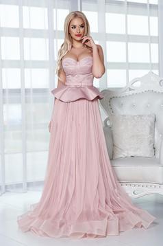 Rochie de seara Ana Radu rosa tip corset cu volanas in talie