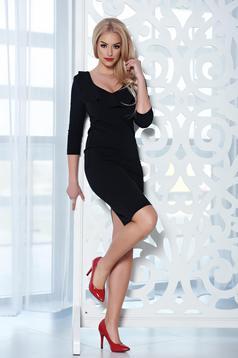 Rochie eleganta midi StarShinerS neagra cu decolteu