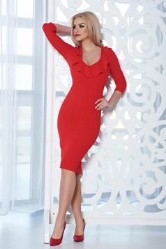 Rochie eleganta midi StarShinerS rosie cu decolteu