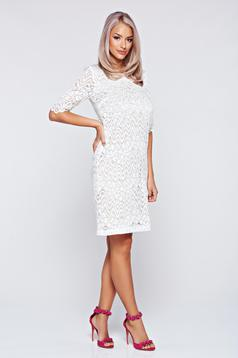 Rochie StarShinerS alba eleganta din dantela captusita pe interior
