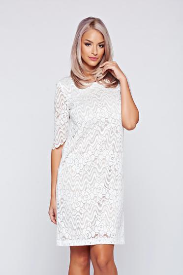 Rochie StarShinerS alba eleganta din material dantelat