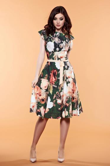 Rochie cu imprimeuri florale LaDonna verde accesorizata cu cordon