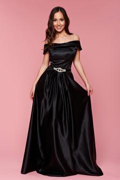 Rochie de seara Artista neagra din material satinat fara maneci