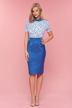 Rochie de zi PrettyGirl albastra cu guler rotunjit