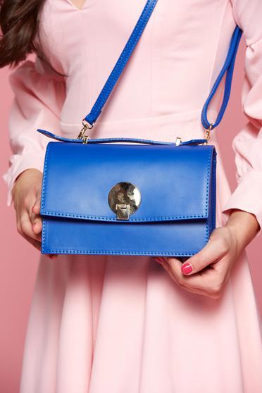 Geanta dama din piele naturala albastra cu maner lung reglabil