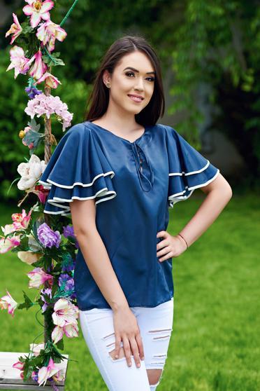 Bluza dama cu maneci tip fluture PrettyGirl albastru-inchis