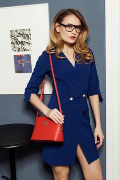 Rochie petrecuta PrettyGirl albastru-inchis accesorizata cu nasturi