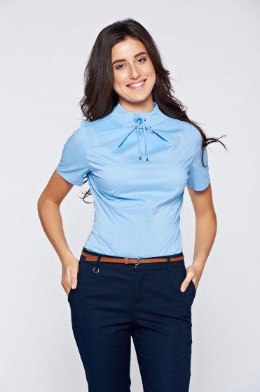 Bluza dama PrettyGirl albastra-deschis office cu maneca scurta