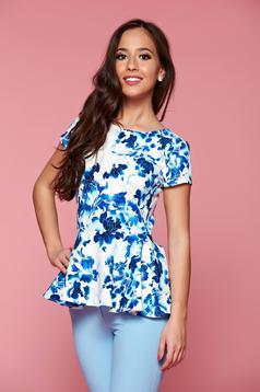 Bluza dama cu volanas in talie PrettyGirl albastra cu imprimeuri florale