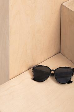 Ochelari de soare cu lentile cat-eye Top Secret negru cu print