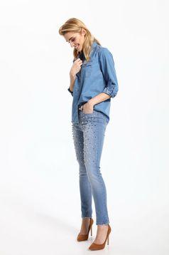 Blugi skinny cu buzunare Top Secret albastri cu aplicatii cu perle