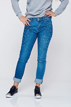 Blugi Top Secret albastri din bumbac cu buzunare cu aplicatii cu perle