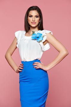 Bluza dama cu aplicatii florale LaDonna albastra cu maneca scurta