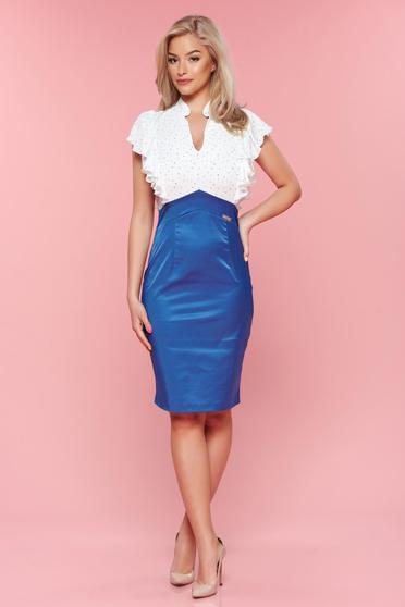 Rochie eleganta PrettyGirl albastra cu decolteu in v