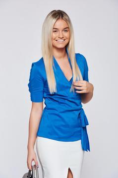 Camasa dama PrettyGirl albastra din bumbac cu maneca scurta