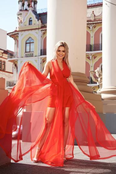 Rochie Ana Radu rosie de lux cu decolteu adanc captusita pe interior cu spatele decupat