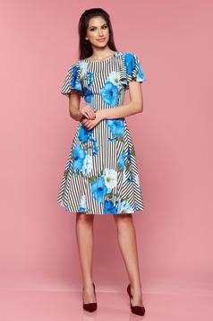 Rochie cu imprimeu floral LaDonna albastra cu dungi verticale in clos