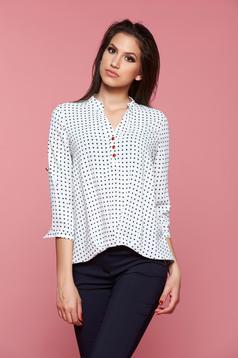 Bluza dama casual cu buline Fofy alba cu maneci trei-sferturi