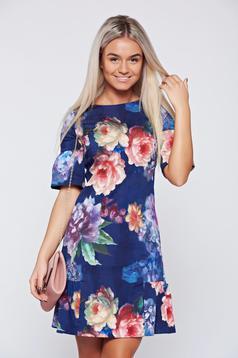 Rochie Fofy mov cu imprimeu floral cu volanase la baza rochiei