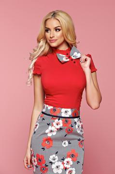 Camasa dama cu maneca scurta rosie Fofy cu accesoriu in forma de fundita