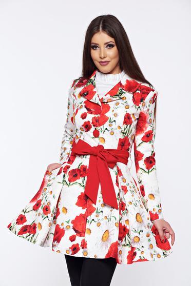 Palton Artista alb in clos cu imprimeu floral