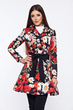 Palton Artista negru in clos cu imprimeu floral