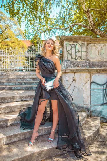 Rochie Ana Radu neagra de lux asimetrica pe umar captusita pe interior