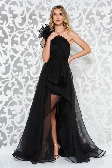 Rochie Ana Radu neagra de lux asimetrica pe umar captusita pe interior accesorizata cu cordon