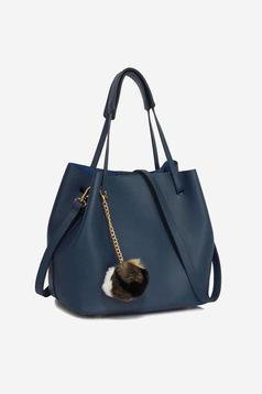 Geanta dama casual albastru-inchis cu accesoriu inclus