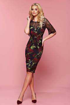 Rochie cu imprimeuri florale LaDonna neagra cu maneci din dantela