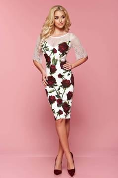 Rochie cu imprimeuri florale LaDonna alba cu maneci din dantela