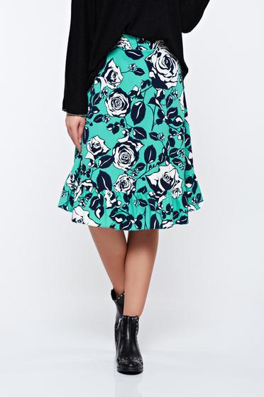 Fusta LaDonna turquoise evazata cu imprimeuri florale
