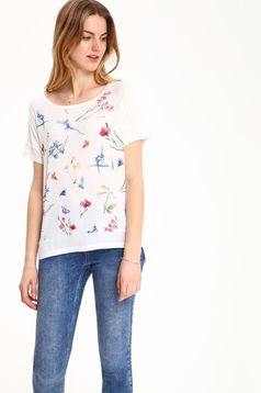 Tricou casual Top Secret alb cu imprimeuri florale