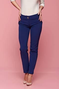 Pantaloni office PrettyGirl albastri conici cu buzunare