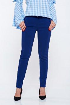 Pantaloni PrettyGirl albastri office cu buzunare